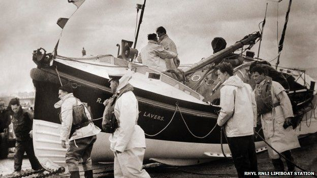Lucy Lavers being recovered after service at Rhyl