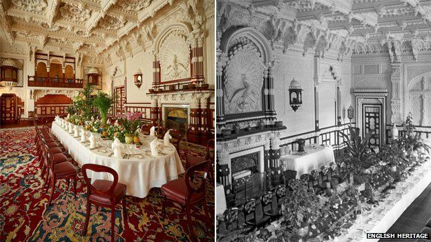The Durbar Room following conservation work (left) and pictured in the 1890s (right)