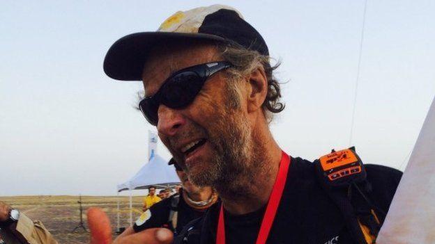 Ranulph Fiennes, completing the finishing line at the Marathon de Sables, 10 April 2015