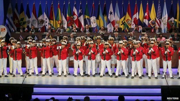 A marching band performs during the inauguration ceremony of Summit of the Americas in Panama on 10 April 2015
