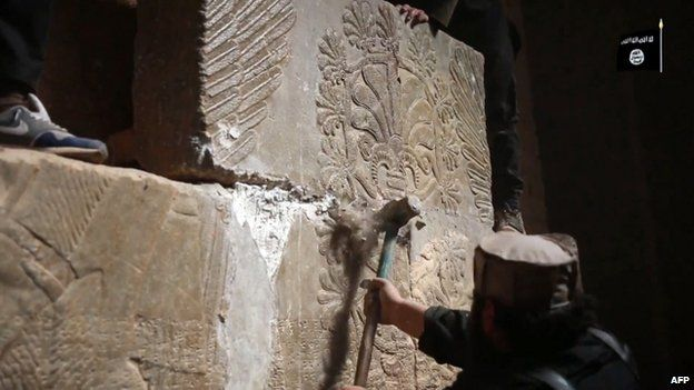 Still from IS video, reportedly showing destruction at the ancient site of Nimrud
