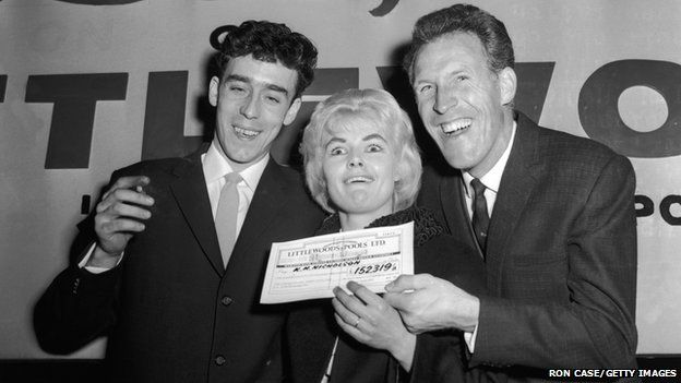 Bruce Forsyth presents Mrs Nicholson with the winning cheque