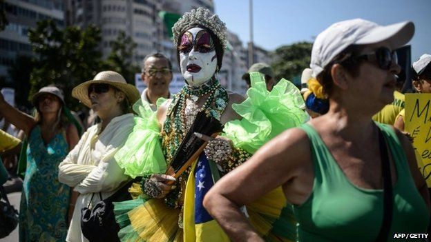 Demonstrators protest against the government of Brazilian President Dilma Rousseff at Copacabana beach in Rio de Janeiro, Brazil on 12 April 2015