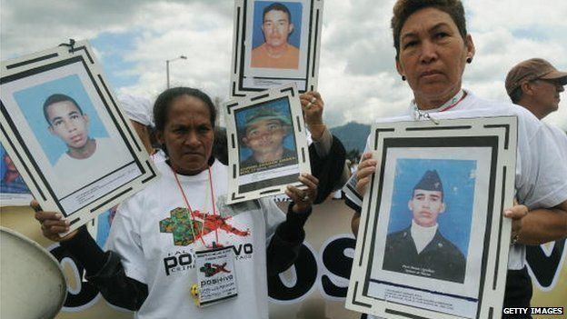 Relatives hold pictures of their beloved during a march against the false positives, massacres and forced disappearances by Colombian authorities on March 6, 2009, in Bogota.