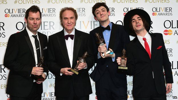 Sunny delight: (left to right) Joe Penhall, Ray Davies, John Dagleish and George Maguire celebrate the success of the Kinks musical