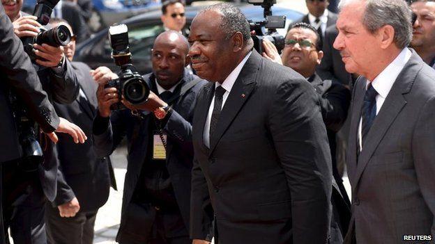 President of Gabon Ali Bongo Ondimba arrives in Tunis on 29 March 2015.