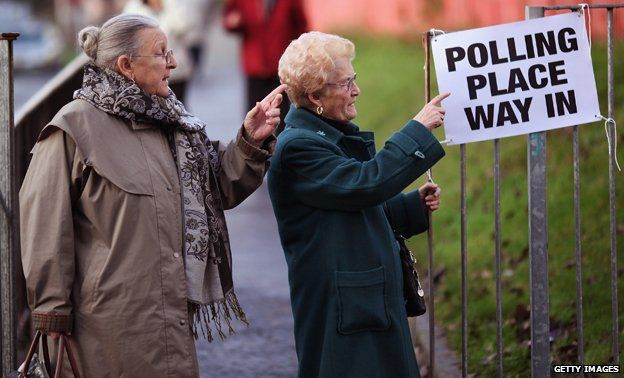 Ladies pointing towards a polling station
