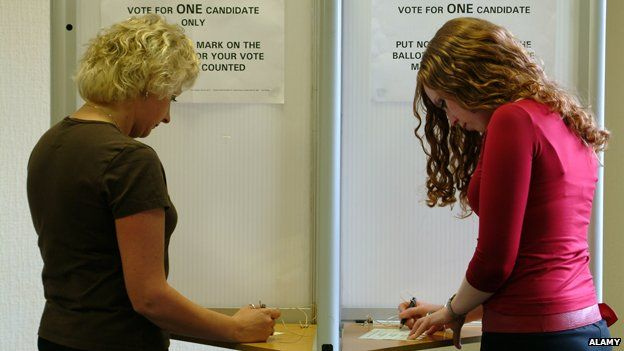 Two women at polling station
