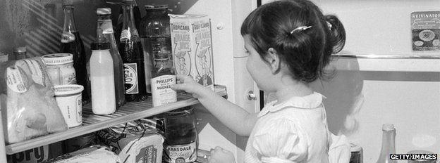 little girl raids the fridge, 1960