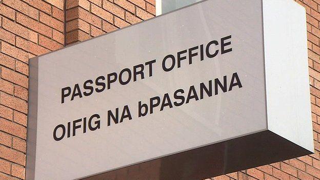 Irish passport office sign, written both in English and in the Irish language