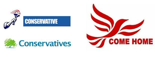 Election 2015 When Political Logos Are Altered Bbc News