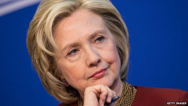 """US Secretary of State Hillary Clinton as she takes part in a discussion on """"our nation's urban centres"""" 23 March 2015"""