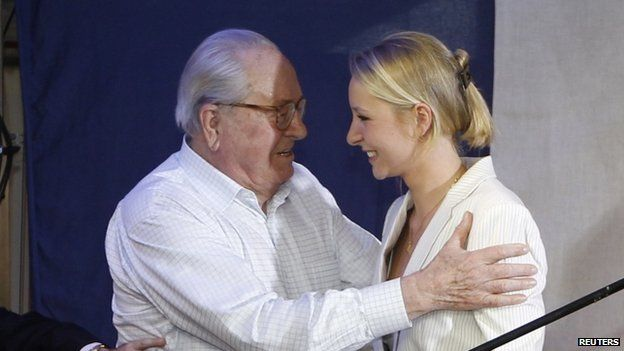 Jean Marie le Pen with granddaughter Marion - 13 April