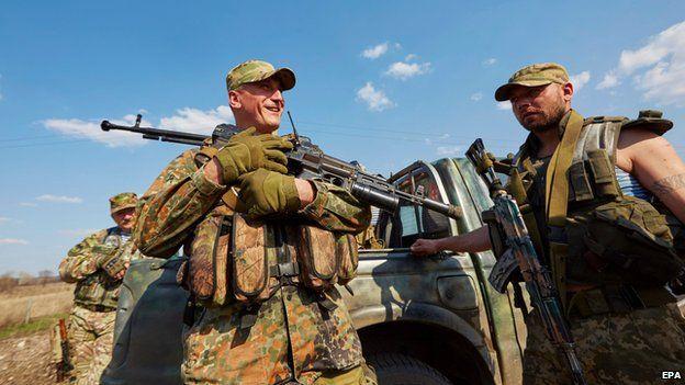 Ukrainian troops in Luhansk