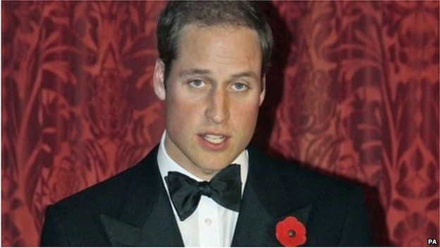 The Duke of Cambridge making a speech as he attends a dinner on Thursday