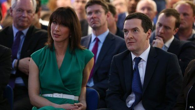 Samantha Cameron and George Osborne listening at the launch of the Conservative manifesto