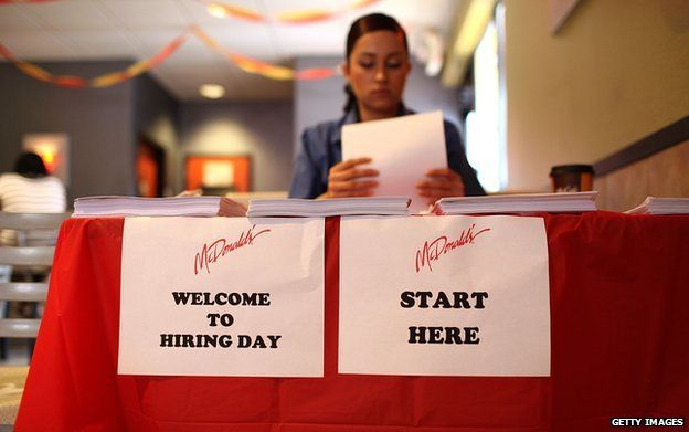Staff at a McDonald's hiring day event