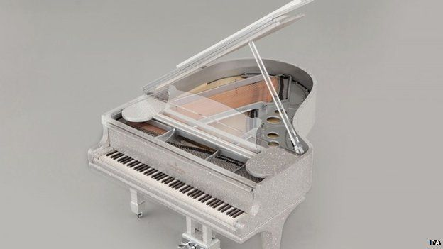 Piano covered with crystals