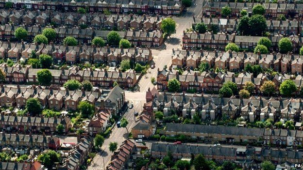 Aerial view of houses in north London