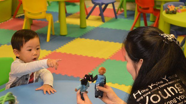 Elrond Chow, aged two, at a HKYTA session with tutor Teresa Fahy, 25 February 2015