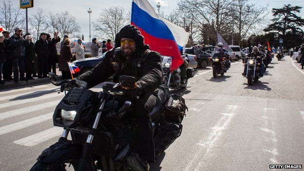 Night Wolves bikers in Crimea, March 2015