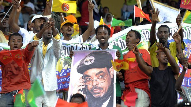 Supporters of Ethiopia's ruling party