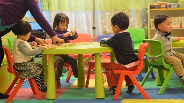 Children playing with toys during a session at the Hong Kong Young Talents Association, 25 February 2015