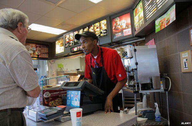 A man working at McDonald's
