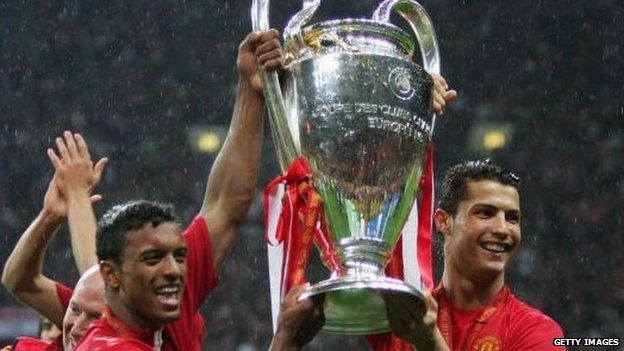 Cristiano Ronaldo And Nani Of Manchester United Celebrate With The Champions League Trophy In 2008