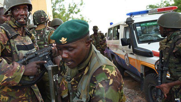 Soldiers at scene of Garissa attack