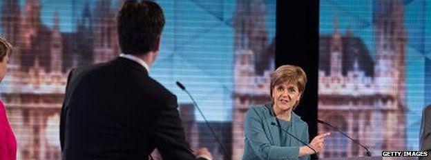 Nicola Sturgeon and Ed Miliband at the BBC debate