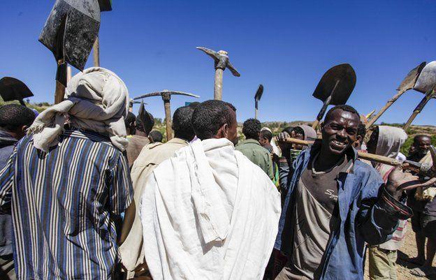 Farmers heading to take part in compulsory labour terracing mountain slopes, Abr'ha Weatsbaha, Tigray Province, Ethiopia