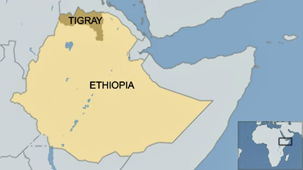Map showing the Tigray province of Ethiopia