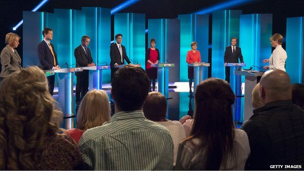 (L-R): Green Party leader Natalie Bennett, Liberal Democrat leader Nick Clegg, UKIP leader Nigel Farage, Labour leader Ed Miliband, Plaid Cymru leader Leanne Wood, Scottish National Party leader Nicola Sturgeon and British Prime Minister and Conservative leader David Cameron