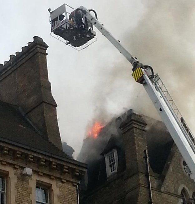Flames at Randolph Hotel