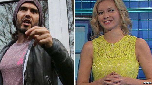Russell Brand and Rachel Riley