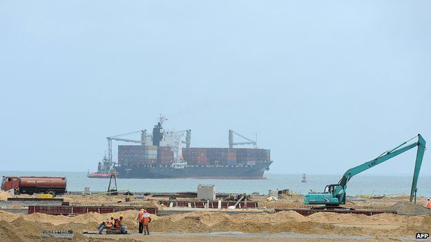 Construction continues on a section of the Chinese-built and owned new Colombo South Harbour in Colombo on 15 August 2013.