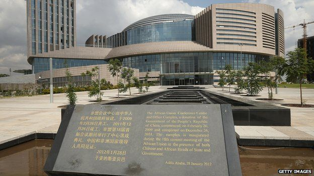 A plaque stands outside the headquarters complex of the African Union (AU), which was a gift by the government of China and completed in 2012, on March 18, 2013 in Addis Ababa, Ethiopia.