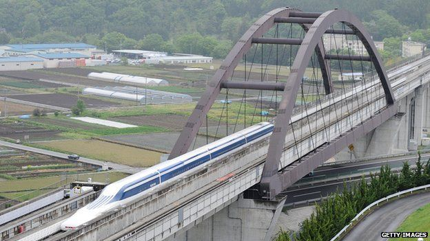 The Maglev (magnetic levitation) train during a test run on the experimental track in Tsuru, 100km west of Tokyo, on May 11, 2010.