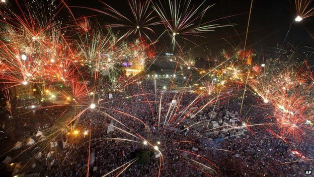 Fireworks in the sky above Tahrir Square on 3 July 2013