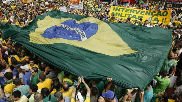 Demonstration against the president and the corruption scandal involving Petrobras