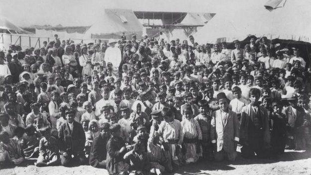 Armenian children at a refugee camp in 1915