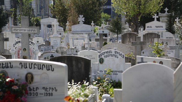 Graves from Armenian cemetery in Istanbul