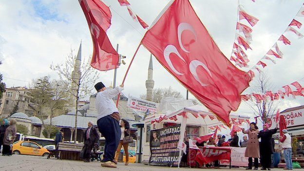 Turkish nationalists waving flags