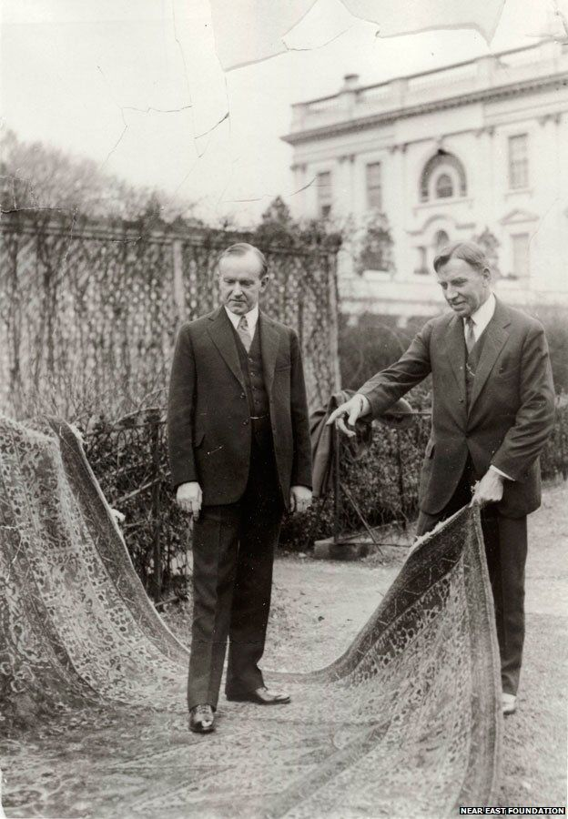 President Calvin Coolidge and the rug