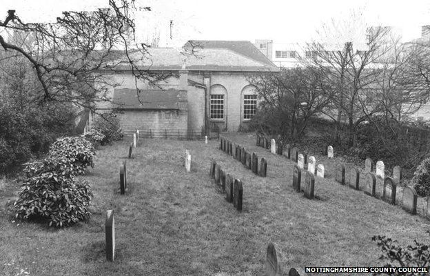 The Old Quaker Meeting House and burial ground in 1972