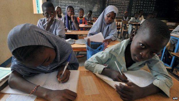 Schoolchildren in Niger pictured in 2012
