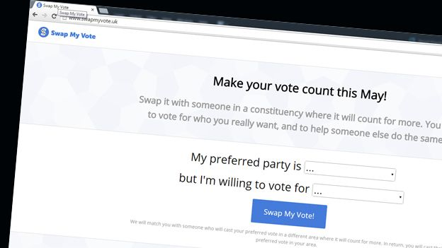 Front page of Swapmyvote.com