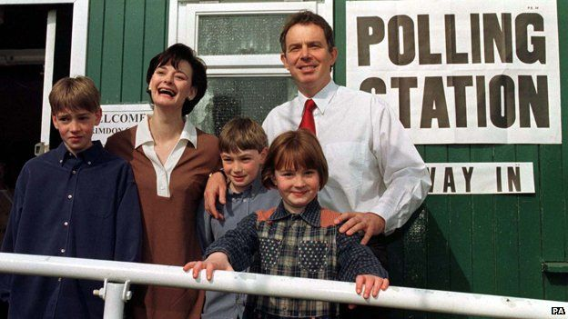 Tony and Cherie Blair and family outside polling station in their constituency