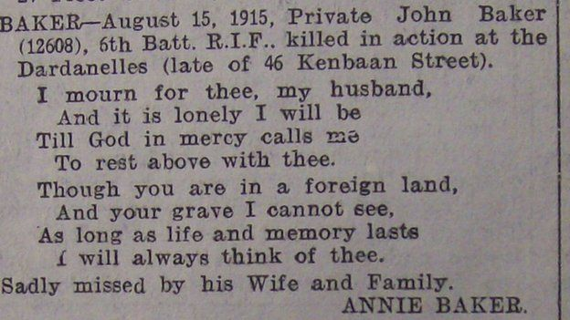 A newspaper obituary for Private James Baker